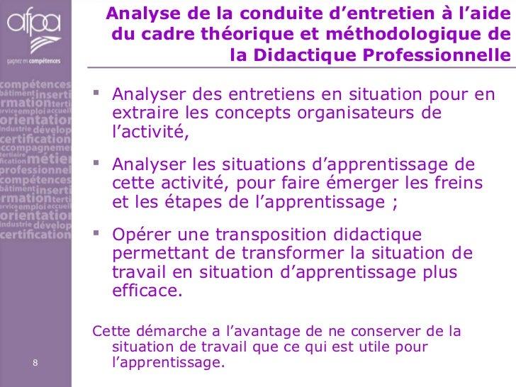 Analyse de la conduite d'entretien à l'aide du cadre théorique et méthodologique de la Didactique Professionnelle <ul><li>...