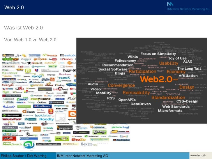www.inm.ch INM Inter Network Marketing AG Philipp Sauber / Dirk Worring Was ist Web 2.0 Von Web 1.0 zu Web 2.0 Web 2.0