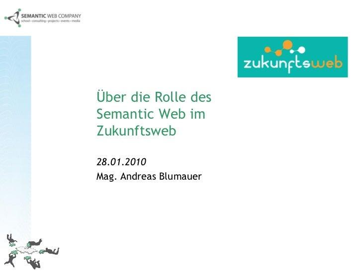 Über die Rolle des Semantic Web im Zukunftsweb  28.01.2010 Mag. Andreas Blumauer