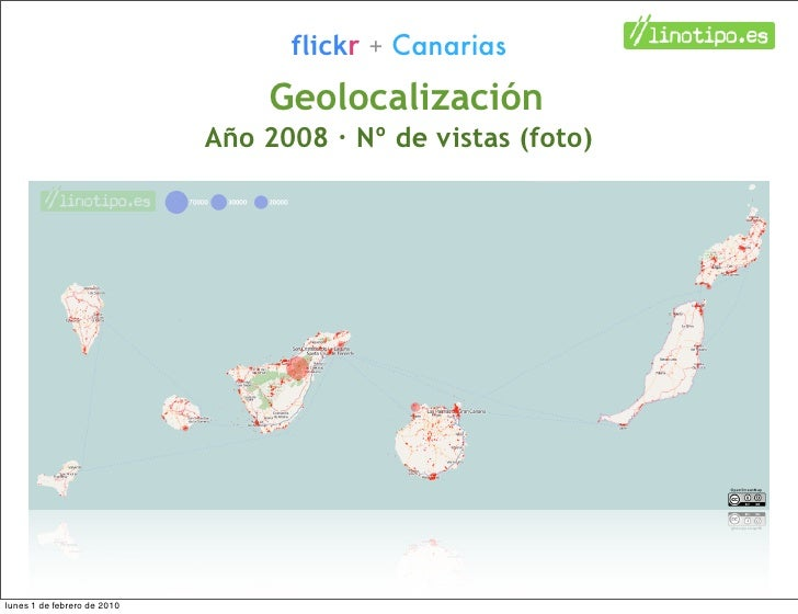 flickr + Canarias                                  Geolocalización                              Año 2008 · Nº de vistas (f...