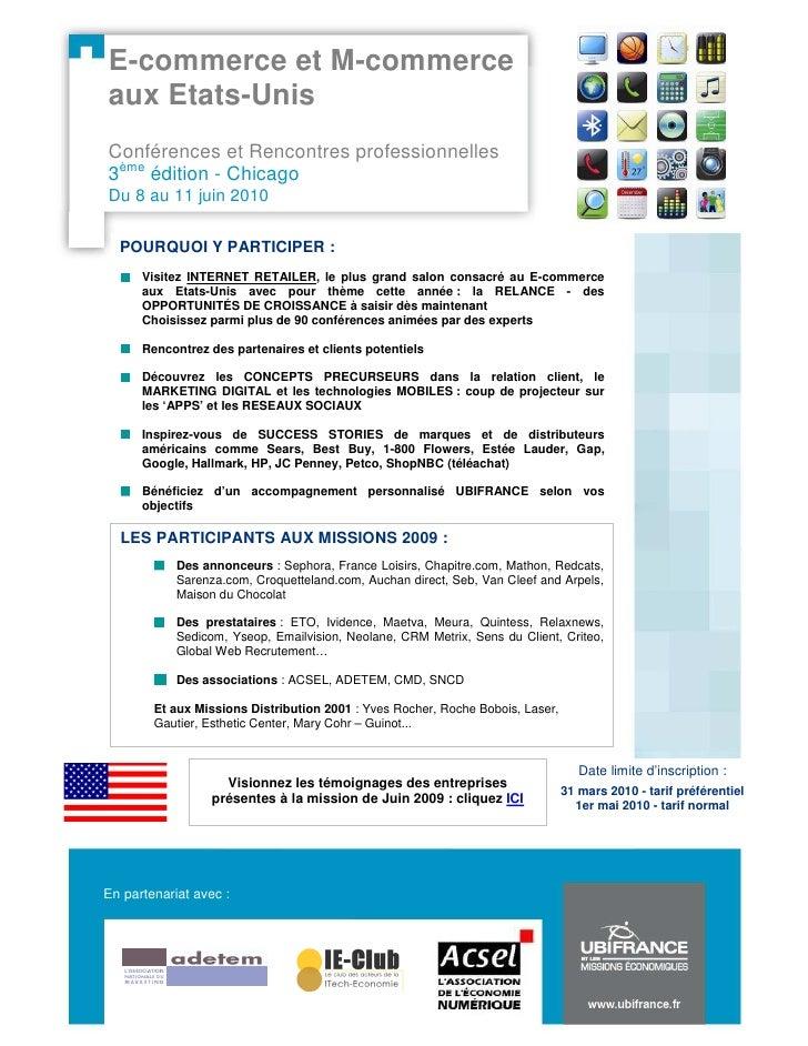 E-commerce et M-commerce aux Etats-Unis Conférences et Rencontres professionnelles 3ème édition - Chicago Du 8 au 11 juin ...