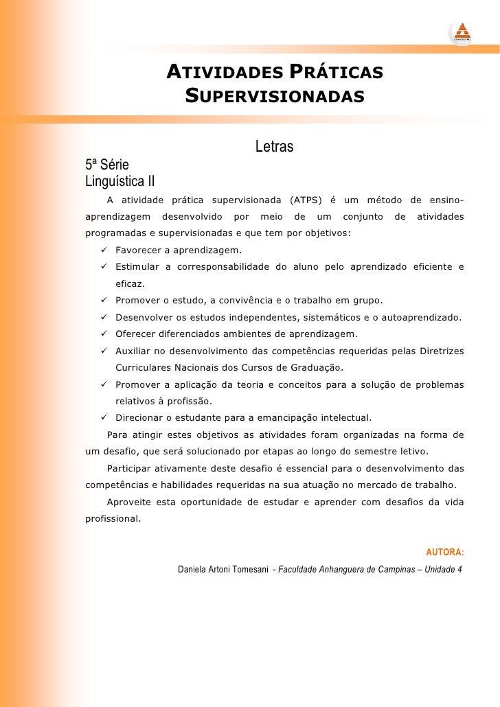 ATIVIDADES PRÁTICAS                    SUPERVISIONADAS                                          Letras 5ª Série Linguístic...
