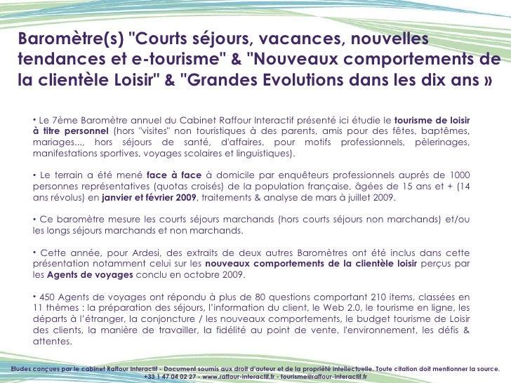 """Baromètre(s) """"Courts séjours, vacances, nouvelles tendances et e-tourisme"""" & """"Nouveaux comportements de la ..."""