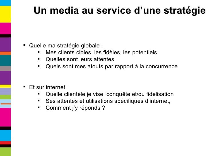 <ul><li>Quelle ma stratégie globale : </li></ul><ul><ul><li>Mes clients cibles, les fidèles, les potentiels </li></ul></ul...
