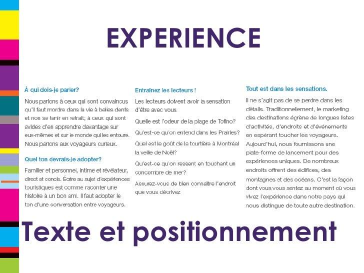 EXPERIENCE Texte et positionnement
