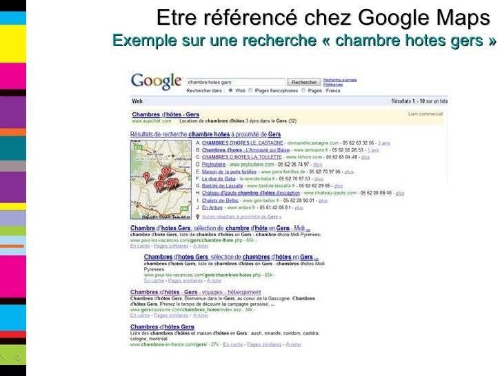 Etre référencé chez Google Maps  Exemple sur une recherche «chambre hotes gers»