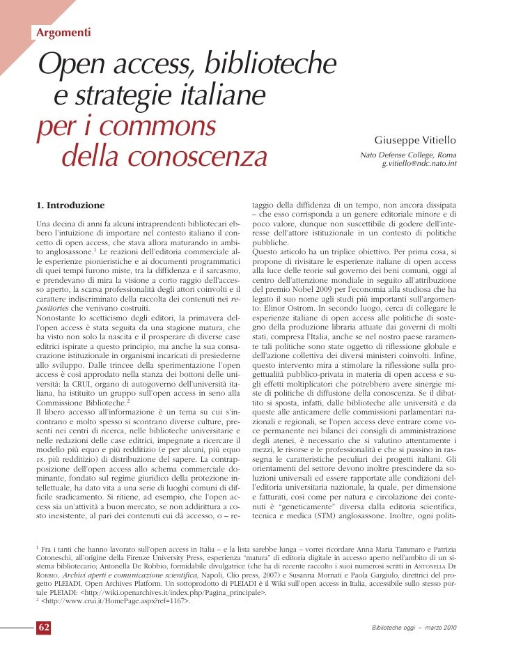 Argomenti   Open access, biblioteche  e strategie italiane per i commons                                                  ...