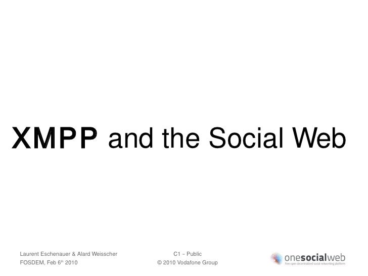 XMPP and the Social Web   Laurent Eschenauer & Alard Weisscher        C1 – Public FOSDEM, Feb 6 2010                th    ...