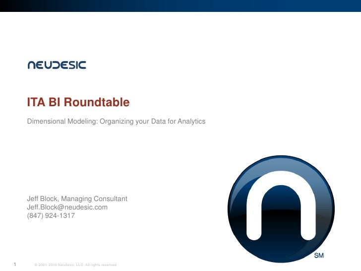 ITA BI Roundtable     Dimensional Modeling: Organizing your Data for Analytics         Jeff Block, Managing Consultant    ...