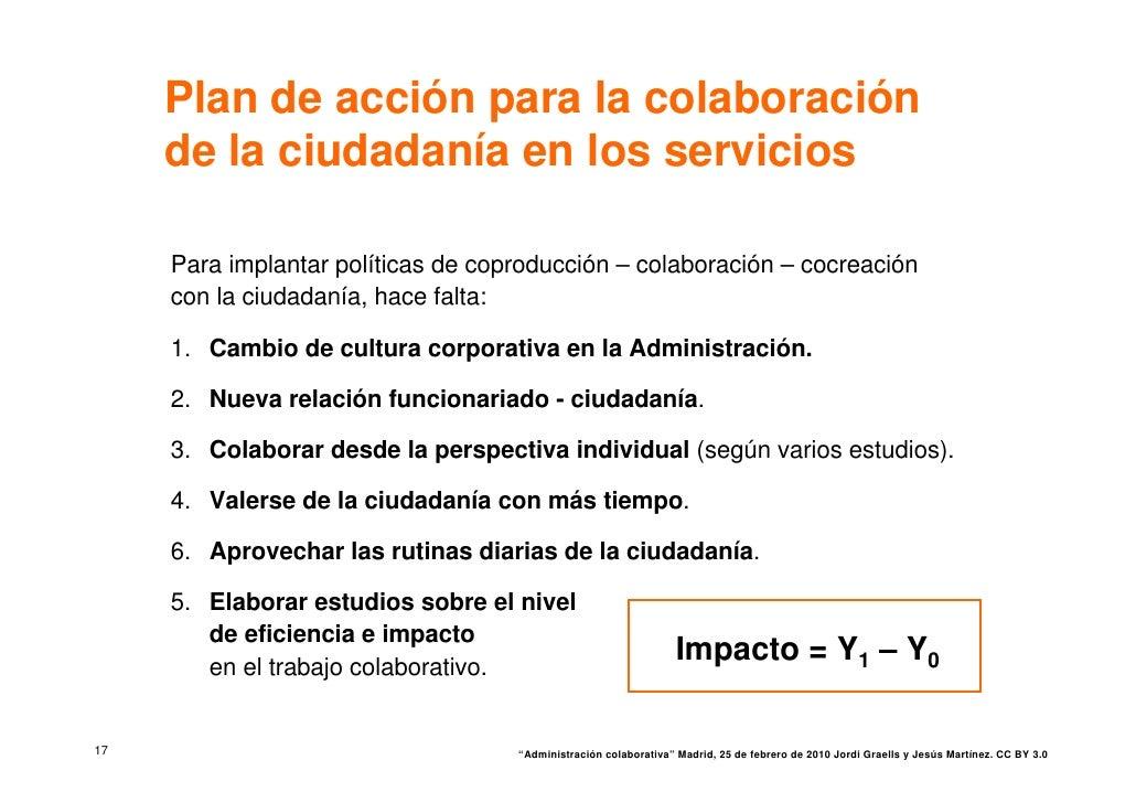 Plan de acción para la colaboración      de la ciudadanía en los servicios       Para implantar políticas de coproducción ...