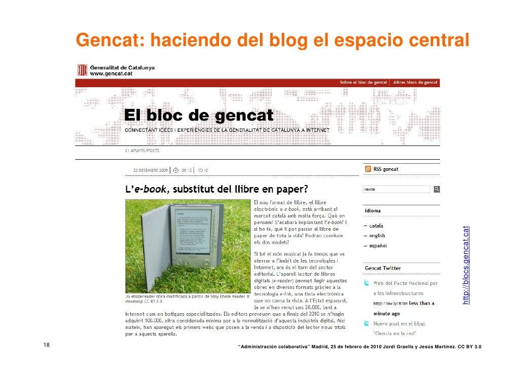 Gencat: haciendo del blog el espacio central                                                                              ...
