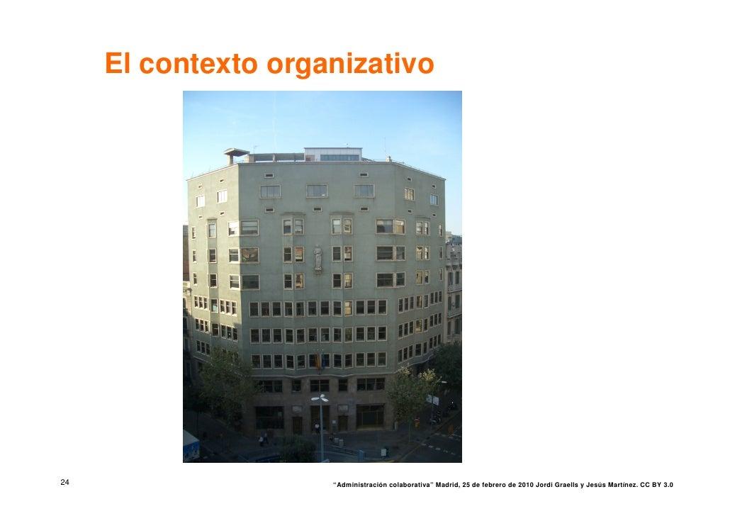 """El contexto organizativo     24                   """"Administración colaborativa"""" Madrid, 25 de febrero de 2010 Jordi Graell..."""