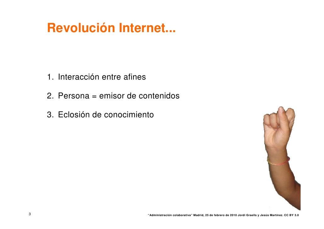 Revolución Internet...       1. Interacción entre afines      2. Persona = emisor de contenidos      3. Eclosión de conoci...