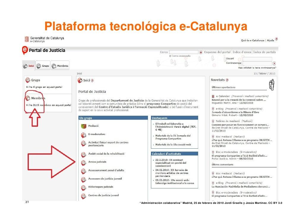 """Plataforma tecnológica e-Catalunya     31                  """"Administración colaborativa"""" Madrid, 25 de febrero de 2010 Jor..."""