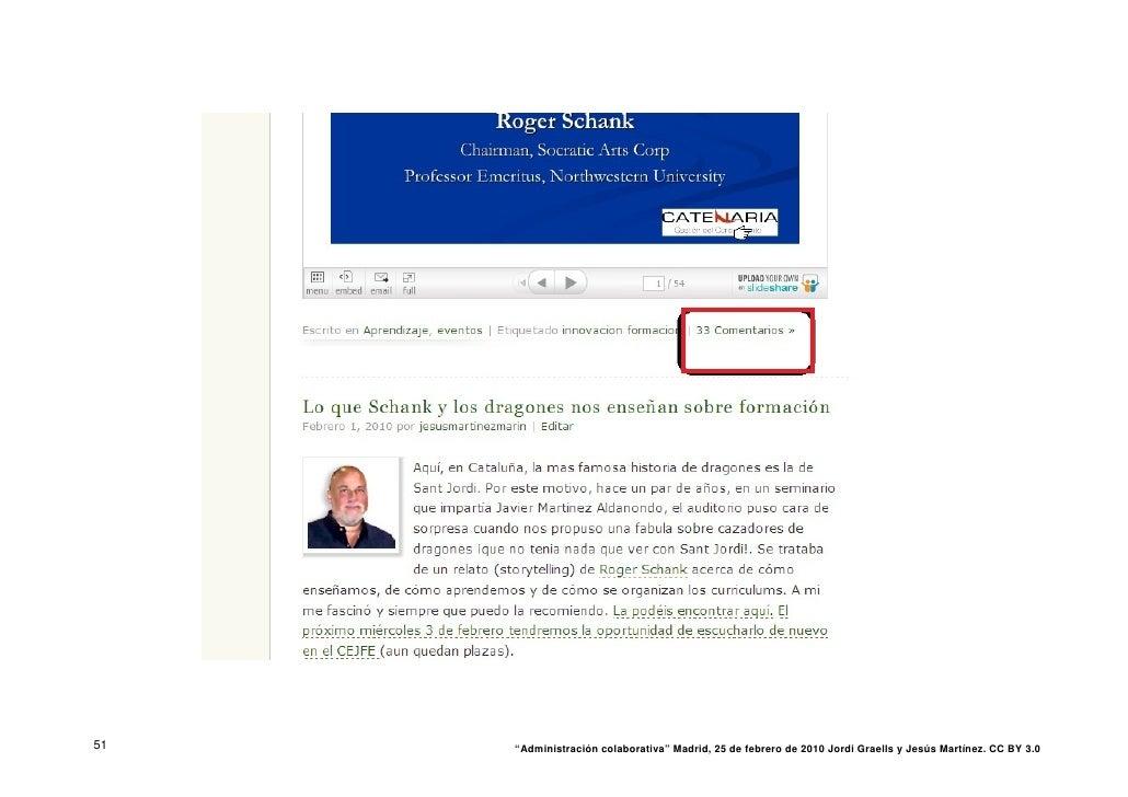"""51   """"Administración colaborativa"""" Madrid, 25 de febrero de 2010 Jordi Graells y Jesús Martínez. CC BY 3.0"""