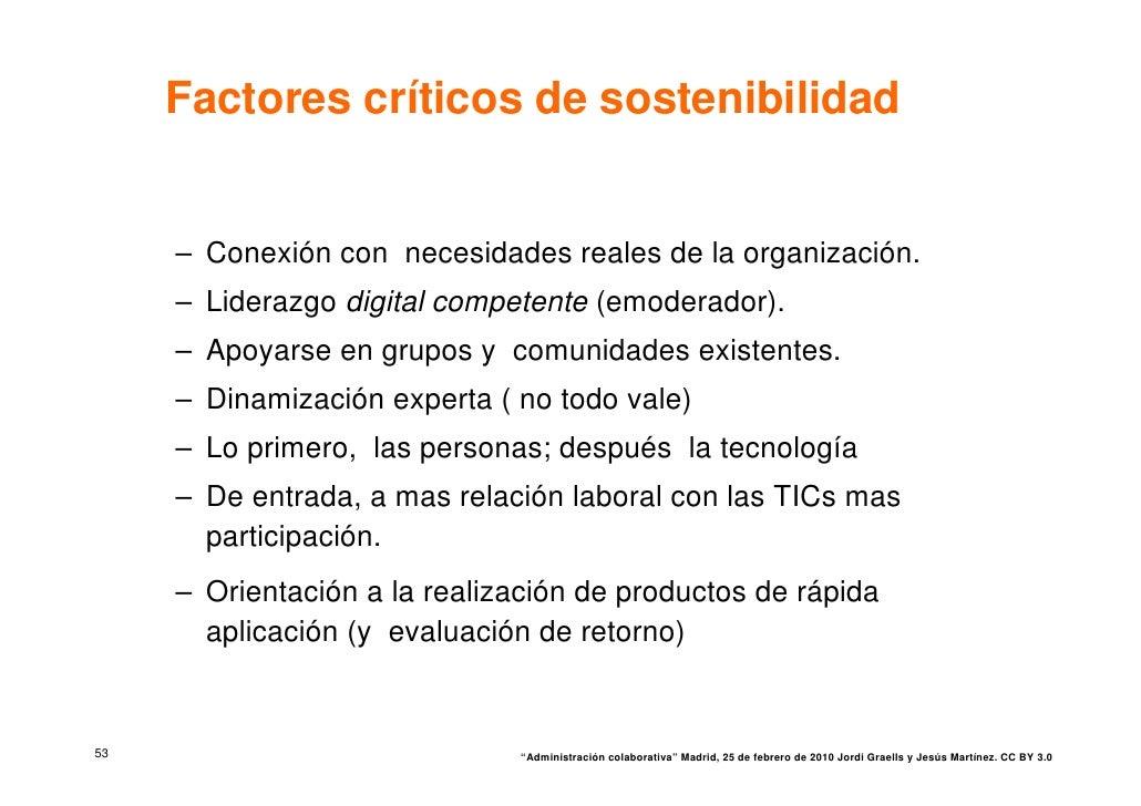Factores críticos de sostenibilidad        – Conexión con necesidades reales de la organización.      – Liderazgo digital ...