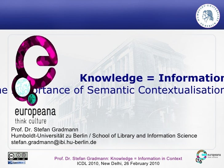 Knowledge = Information + Context