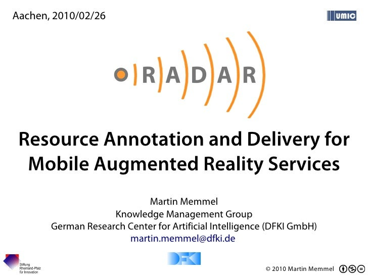 RADAR - Resource Annotation and Delivery for Mobile Augmented Reality Services