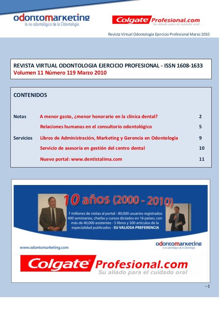 Revista Virtual Odontología Ejercicio Profesional Marzo 2010REVISTA VIRTUAL ODONTOLOGIA EJERCICIO PROFESIONAL - ISSN 1608-...