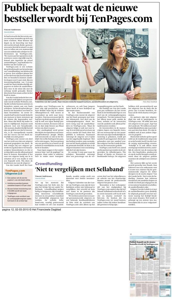 Publiek bepaalt wat de nieuwe  bestseller wordt bij TenPages.com  Vincent Andriessen  .......................................