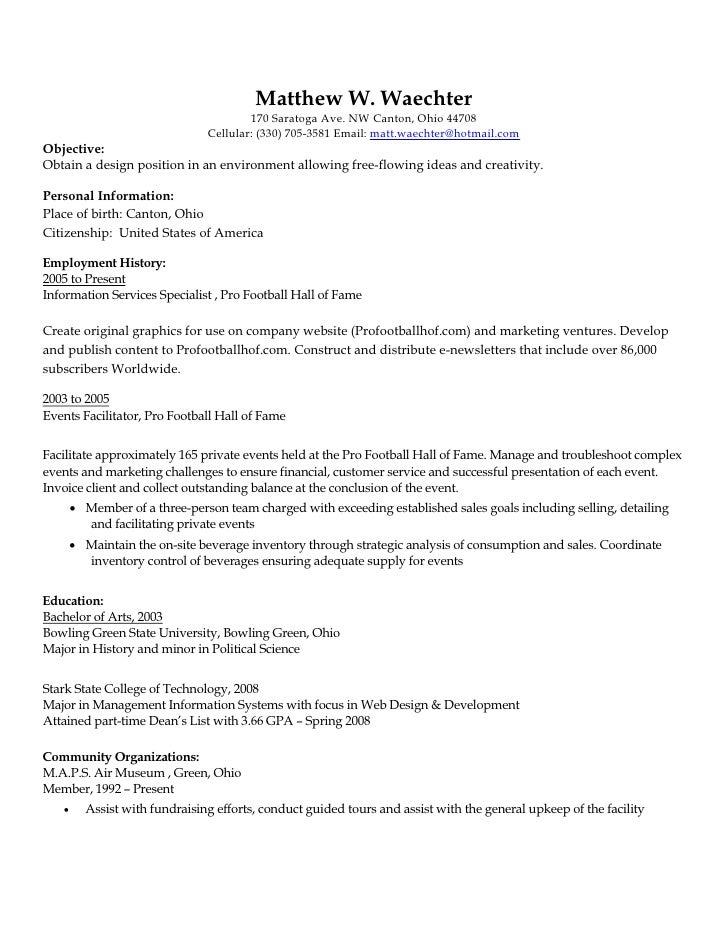 Curriculum Vitae; 11.  Career Examples