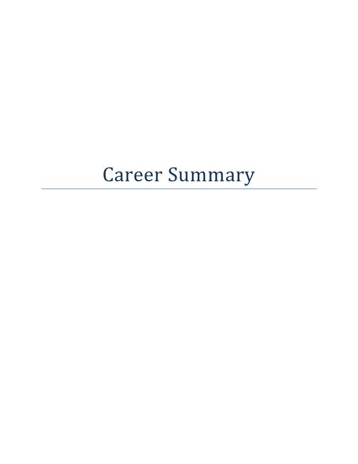 career summery