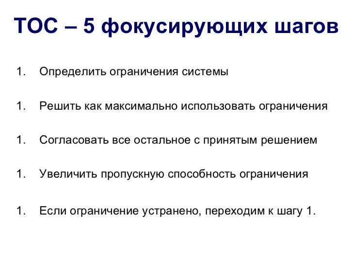 ТОС – 5 фокусирующих шагов1.   Определить ограничения системы1.   Решить как максимально использовать ограничения1.   Согл...