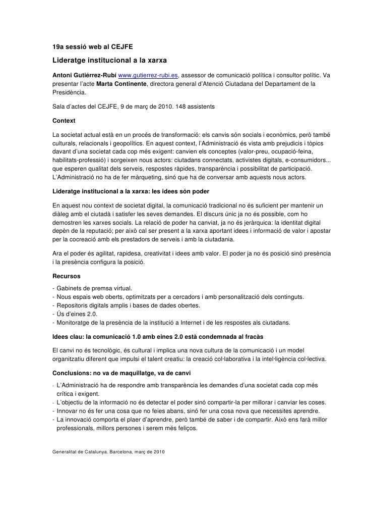 19a sessió web al CEJFE  Lideratge institucional a la xarxa Antoni Gutiérrez-Rubí www.gutierrez-rubi.es, assessor de comun...