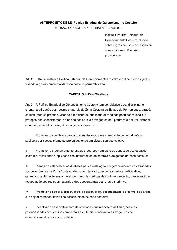ANTEPROJETO DE LEI Política Estadual de Gerenciamento Costeiro                        VERSÃO CONSOLIDA NA CONSEMA 11/03/20...