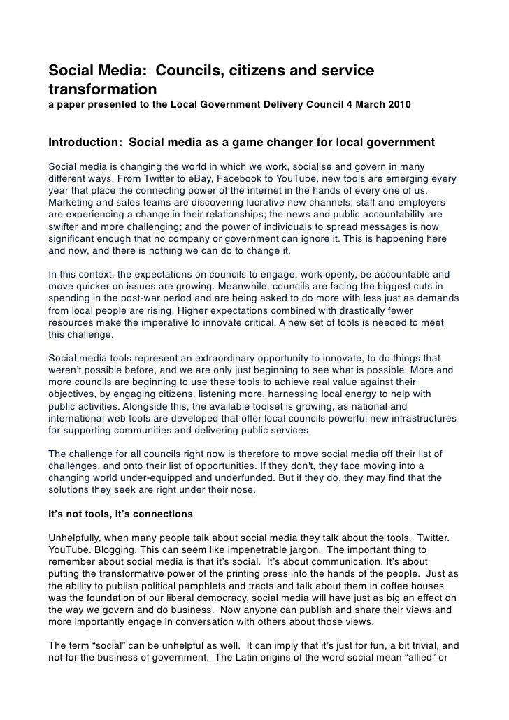 Social Media: Councils, citizens and service transformation a paper presented to the Local Government Delivery Council 4 M...