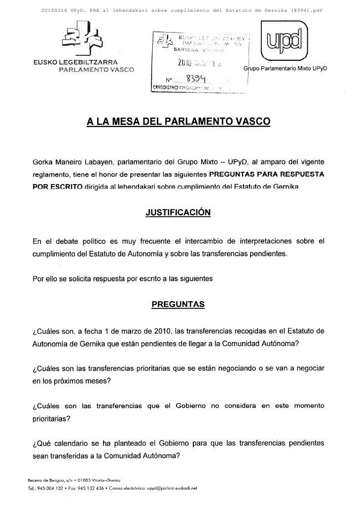 20100316 UPyD. PRE al lehendakari sobre cumplimiento del Estatuto de Gernika (8394).pdf