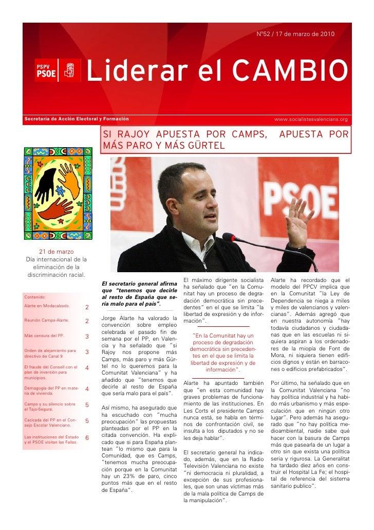 Nº52 / 17 de marzo de 2010                                     Liderar el CAMBIO Secretaría de Acción Electoral y Formació...