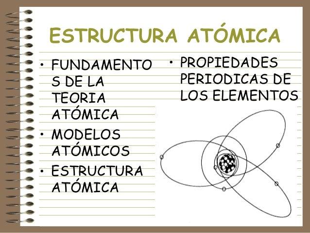 ESTRUCTURA ATÓMICA • FUNDAMENTO S DE LA TEORIA ATÓMICA • MODELOS ATÓMICOS • ESTRUCTURA ATÓMICA  • PROPIEDADES PERIODICAS D...