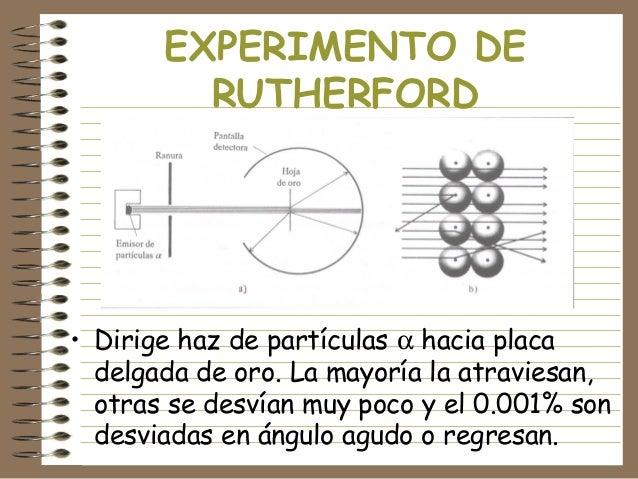 EXPERIMENTO DE RUTHERFORD  • Dirige haz de partículas α hacia placa delgada de oro. La mayoría la atraviesan, otras se des...