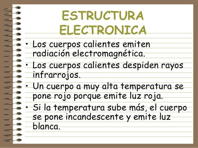ESTRUCTURA ELECTRONICA  • Los cuerpos calientes emiten radiación electromagnética. • Los cuerpos calientes despiden rayos ...