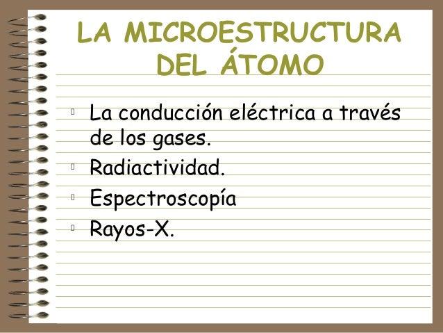 LA MICROESTRUCTURA DEL ÁTOMO La conducción eléctrica a través de los gases. Radiactividad. Espectroscopía Rayos-X.