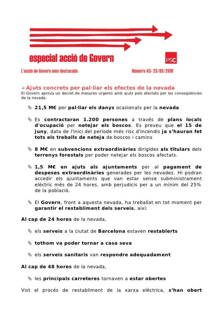 L'acció de Govern més destacada                        Número 43- 23/03/2010     Ajuts concrets per pal·liar els efectes d...