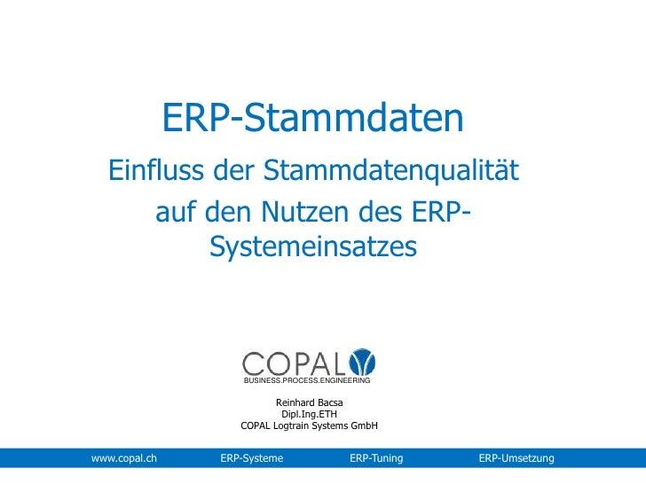 ERP-Stammdaten<br />Einfluss der Stammdatenqualität <br />auf den Nutzen des ERP-Systemeinsatzes<br />BUSINESS.PROCESS.ENG...