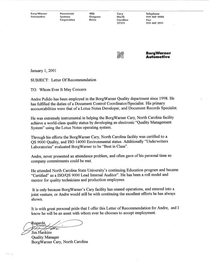 Recommendation Letter from Borg Warner