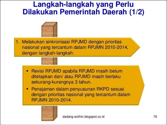Langkah-langkah yang Perlu Dilakukan Pemerintah Daerah (2/2) 77 2. Meningkatkan sinkronisasi penggunaan dana dekonsentrasi...