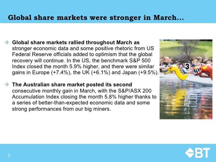 Global share markets were stronger in March... <ul><li>Global share markets rallied throughout March as  stronger economic...