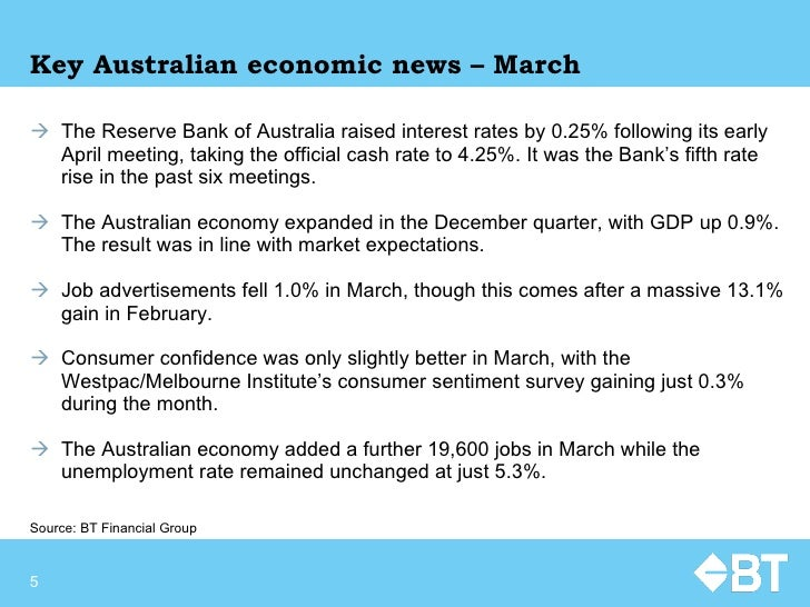 Key Australian economic news – March <ul><li>The Reserve Bank of Australia raised interest rates by 0.25% following its ea...