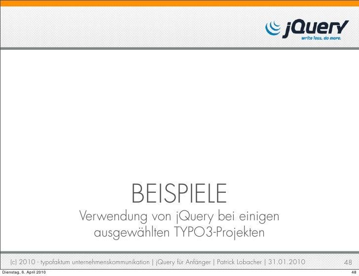 beispiele verwendung von jquery - Jquery Beispiele