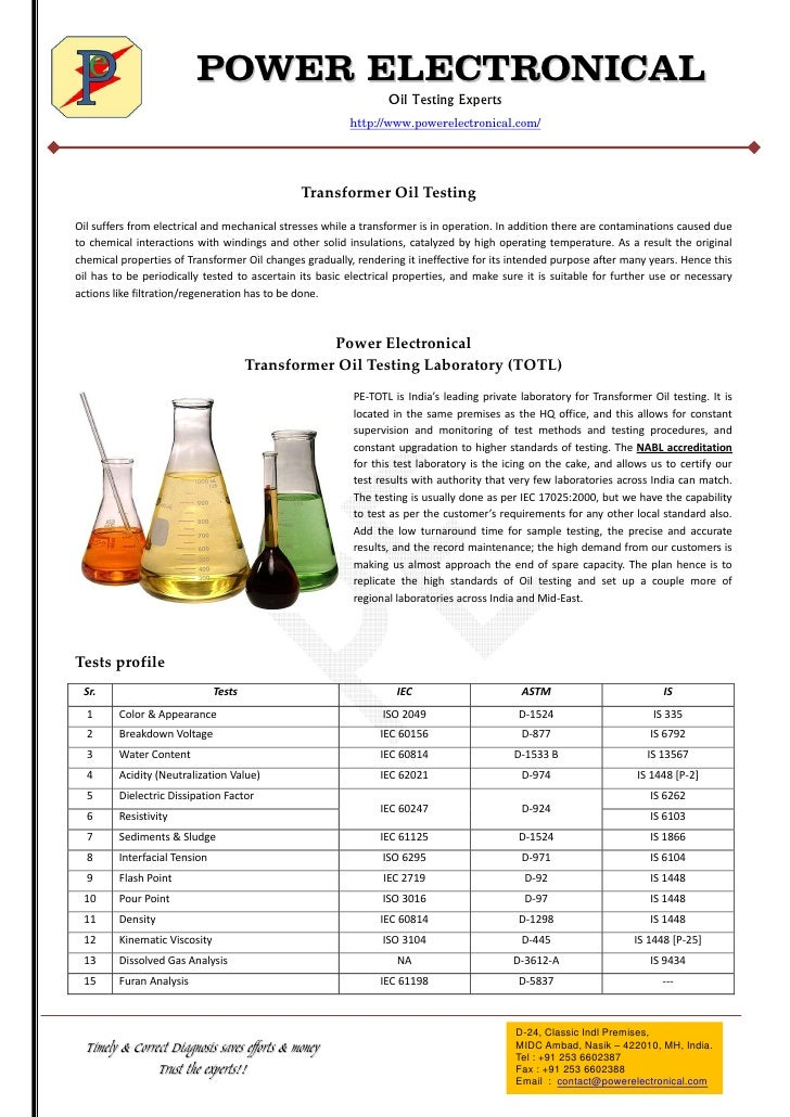 POWER ELECTRONICAL                                                                                Oil Testing Experts     ...