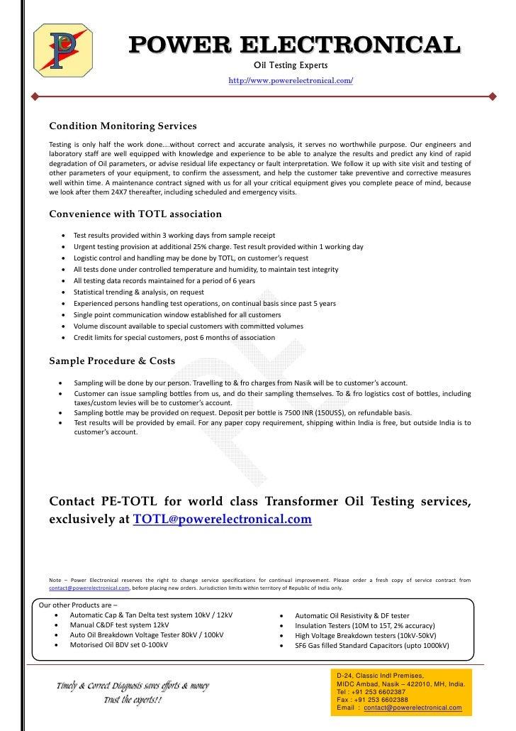 Transformer Oil Testing services Slide 3