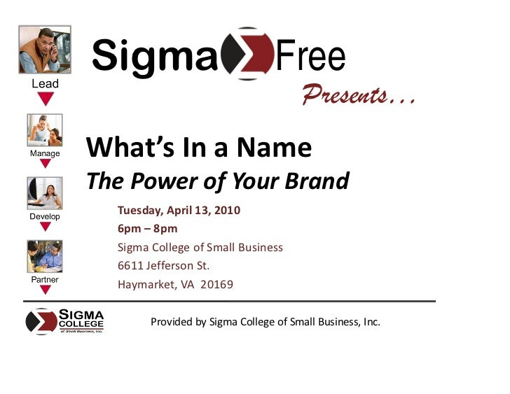 Sigma                             Free                                         Presents… What's In a Name The Power of You...