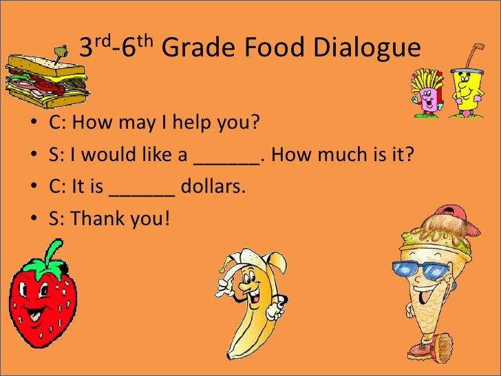 3rd-6th Grade Food Dialogue<br />C: How may I help you?<br />S: I would like a ______. How much is it?<br />C: It is _____...