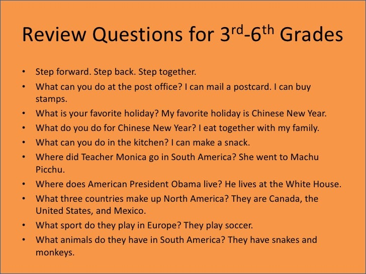 Review Questions for 3rd-6th Grades<br />Step forward. Step back. Step together.<br />What can you do at the post office? ...