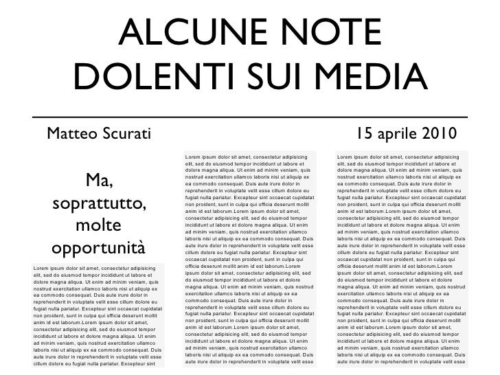 ALCUNE NOTE                  DOLENTI SUI MEDIA      Matteo Scurati                                                        ...