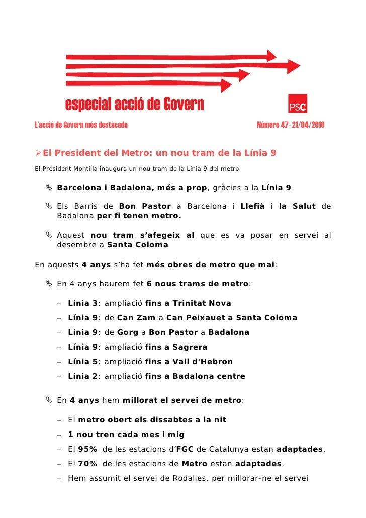 L'acció de Govern més destacada                                      Número 47- 21/04/2010     El President del Metro: un ...